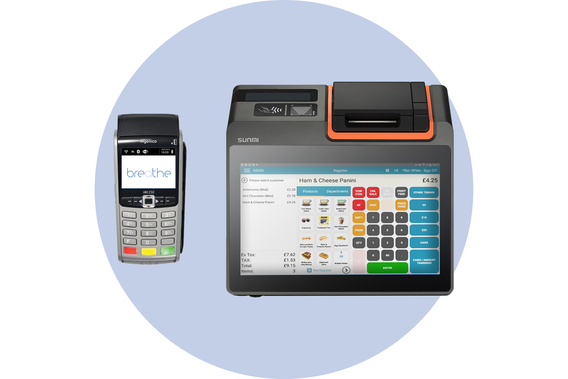 mini epos with card machine